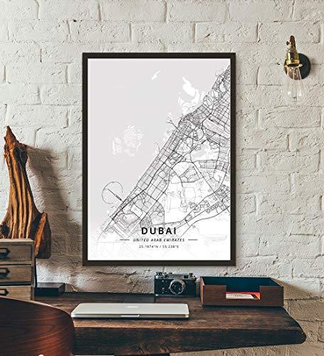 ZWXDMY Leinwand Bild,Vereinigte Arabische Emirate Dubai City Map Schwarze Und Weiße Minimalistische Text Abstrakt Leinwand Poster Malerei Wandbild Cafe Office Home Decor, 40 × 50 cm