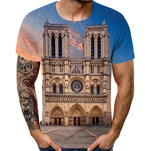 Cinnamou Commémoration Tee Shirt Hommes Chemise à Manches Courtes Homme Imprimé Notre Dame de Paris Chemise Mince Haut Manches Courtes Bleu