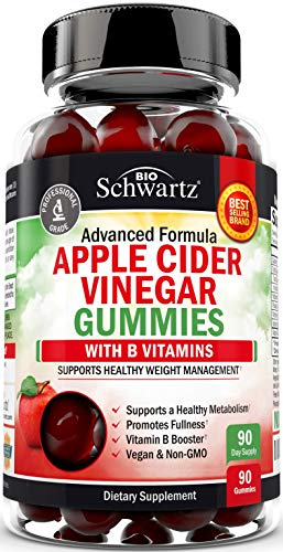 Vegan Apple Cider Vinegar Gummies with The Mother & B Vitamins - Immune Support & Healthy Weight Management - 90 ACV Gummies for Women & Men - Keto Friendly - 1 ACV Gummy Equals 1 Full Serving