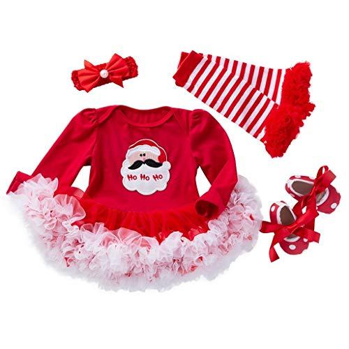 Weihnachten Baby Mädchen Tütü Rock Set,Kleinkind Kinder Baby Mädchen Weihnachten Baby Kleidung Langarm Strampler + Tutu Rock + Stirnband + Weihnachtsstrumpf + Schuhe Outfits Set