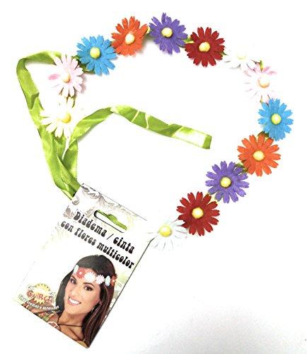 Guirca 17391 - Diadema Hippie con flores, multicolor