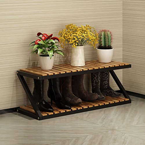 DNSJB Home Solides Holzschuhregal Lagerregal, multifunktionale Multi-Layer-Eisen-Schuh-Rack (Farbe :...