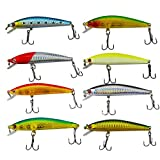 Senven Esche Artificiali Minnow Fishing Lures Hard Baits Crank Baits ABS Artificial Lure for Bass...