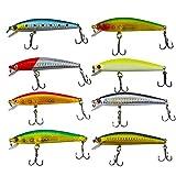Senven Esche Artificiali Minnow Fishing Lures Hard Baits Crank Baits ABS Artificial Lure for Bass Fishing Tackle, Esca Pesca in Mare e Acqua Dolce, Esca Rigida bionica Artificiale - 8Pcs