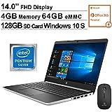 2020 Newest HP 14 Inch FHD 1080P Laptop, Intel Pentium N5000| 4GB DDR4 RAM| 64GB eMMC| Bluetooth| HDMI| Windows 10 S (1 Year Office 365 Personal Included) + NexiGo Mouse + 128GB SD Card Bundle