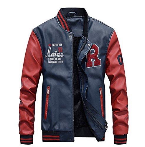 Lavnis Men's Faux Leather Jacket Casual Baseball Stand Collar Slim Fit Coat Blue L
