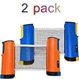JP WinLook Ping Pong Net - 2 Pack; Retractable Table Tennis Nets & Post Set; Adjustable Any Table Anywhere;...