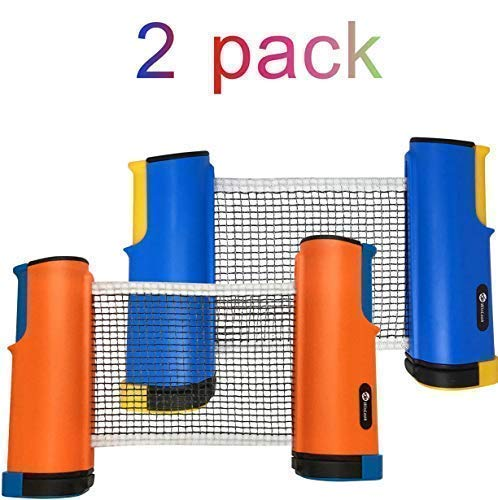 New JP WinLook Ping Pong Net - 2 Pack; Retractable Table Tennis Nets & Post Set; Adjustable Any Tabl...