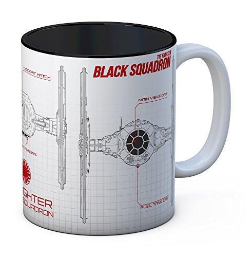 SD toys Star Wars EP.VIII Taza con Diseño Black Squadron, Cerámica, Blanco/Negro, 9x12x11 cm