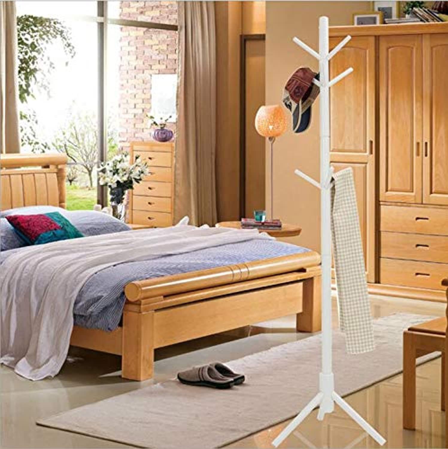 Wooden Coat Stand Tree Twig Hat and Coat Rack for Entryway Hallway Bedroom Closet Wardrobe 9 Hooks 175CM Natural Solid Wood,White