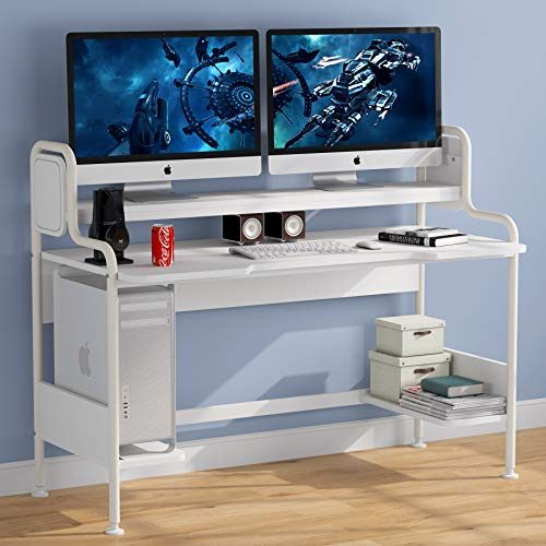 Tribesigns Computer Desk with Hutch, 55-Inch Large Gaming Desk with Storage Shelves, Studio Workstation Desk Studying Writing Table for Home Office