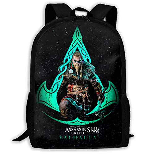 Assassins Laptop Backpack,Boy Backpack Pattern Backpack,Lightweight Multi-Function School Laptop Bookbag Ideal for Commuting
