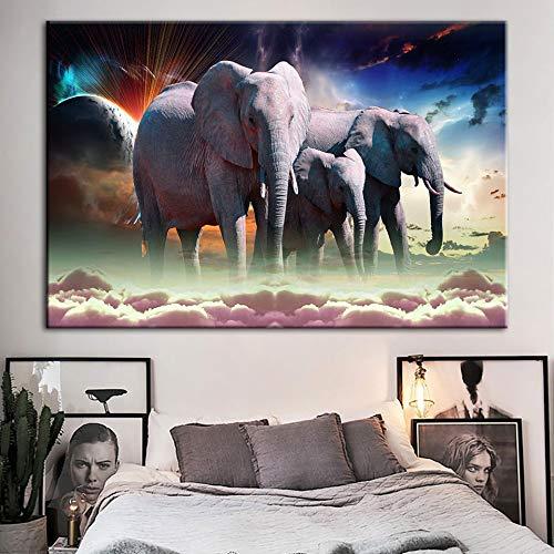 Puzzle 1000 Piezas Cuadro Art Deco Pintura Elefante Pintura Animal Cuadro Moderno Puzzle 1000 Piezas Adultos Rompecabezas de Juguete de descompresión intelectual50x75cm(20x30inch)