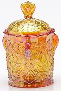 Covered Sugar Bowl - Maple Leaf Pattern - Mosser Glass - Marigold Carnival