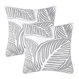 Juego de 2 fundas de almohada decorativas bordadas con hojas de 45,7 x 45,7 cm para sofá, recámara, al aire última intervensión, funda de almohada cuadrada, color gris claro, decoración del...