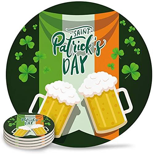 Posavasos para Bebidas Que celebran el día de San Patricio, Posavasos de cerámica de Piedra Absorbente con Respaldo de Corcho y sin Soporte para Tazas, Juego de 6 Piezas, Bandera de Irlanda-6