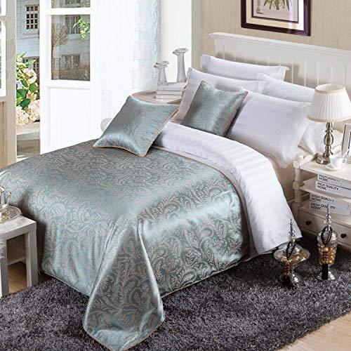 OSVINO ベッドスプレッド ベッドメイキング ヨーロッパ風 ベッドライナー ホテル ジャガード織り 防塵 上品な雰囲気へ ベッド掛け 丸洗え シングル/セミダブル/ダブル ブルー セミダブル210x138cm