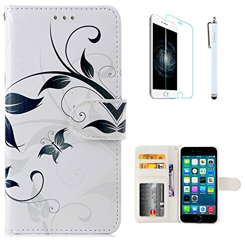 iPhone 6 Plus Case ,iPhone 6s Plus Case, Flip PU Leather Unique Pattern Magnetic Closure by SHIMU for Apple iPhone 6 Plus 5.5 Inch Floral Butterfly