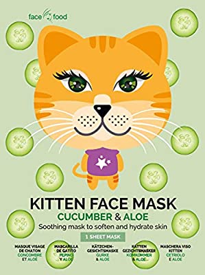 Face Food Kitten Sheet Face Mask Cucumber And Aloe Soothing Mask To Soften And Hydrate Skin