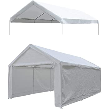 Amazon Com Alion Home Waterproof Poly Tarp Carport Canopy Replacement Garage Shelter Cover W Ball Bungees For Low Medium Peak Frame Not Included 12 X 16 White Garden Outdoor