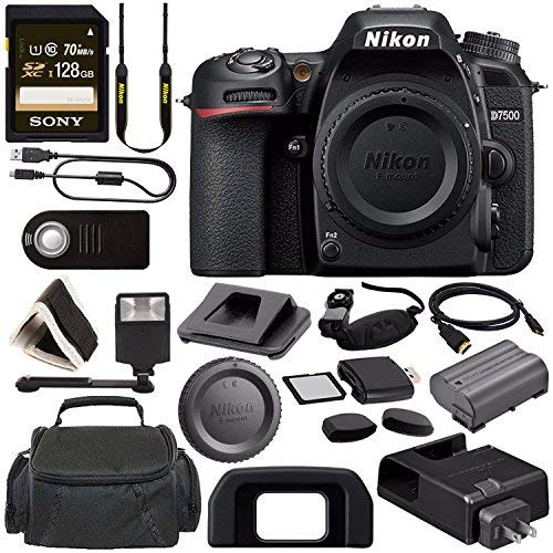 Nikon D7500 DSLR Camera (Body Only) 1581 + Sony 128GB SDXC Card + Digital Slave Flash + HDMI Cable + Carrying Case + Remote + Memory Card Wallet + Memory Card Reader + Pro Hand Camera Grip Bundle