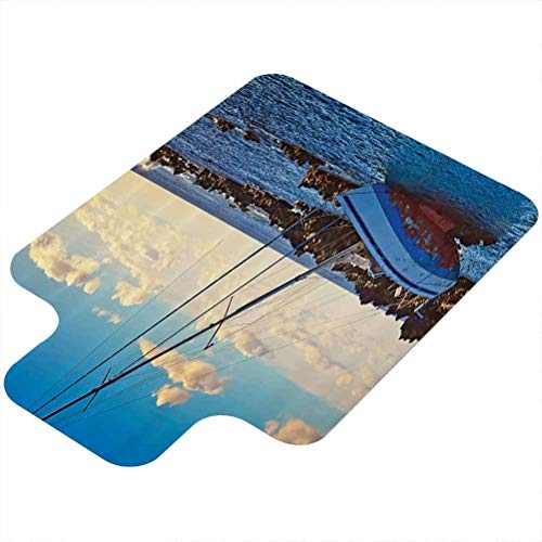 Computer Chair mat, Yacht in The Sea Surrounded by Ledge Rocks Coastal Incident Shroud Crash Scene, 36' X 48' Office Chair Mat for Hardwood Floor, Blue Brown