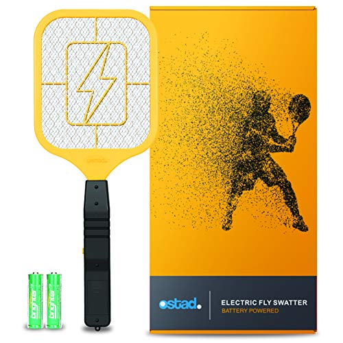 Ostad Bug Zapper Electric Fly Swatter Racket - Powerful Handheld Indoor Outdoor Pest Control Bug Zapper Killer - Fly Mosquito Zapper, Bee, Wasp, Flying Insect Killer 4000 Volt - AA Batteries Included