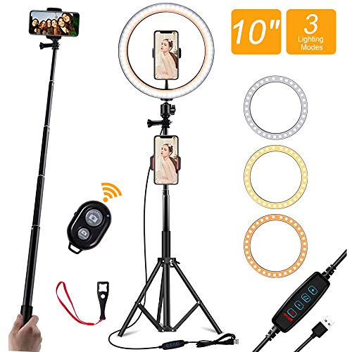 "LED Ring Light 10""With Tripod Stand And 2 Phone Holder, Dimmable with 3 Light Modes & 10 Brightness Level For Live Streaming/Makeup/Photography/YouTube/Vlog/TiK Tok,Compatible With IPhone And Android"