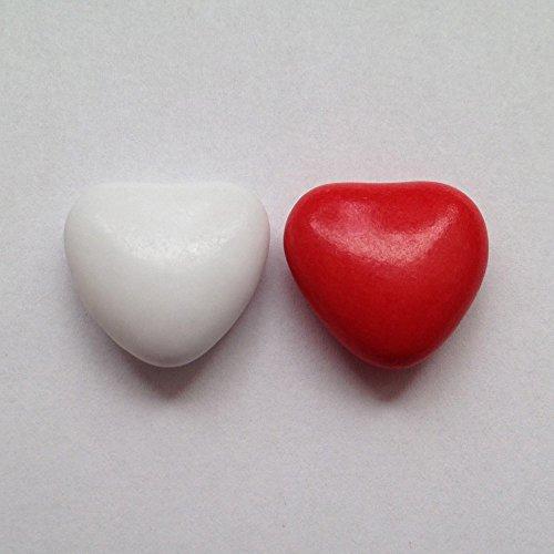 Schokoherzen weiß-rot 1 kg (ca. 500-550 St.) - Gastgeschenke Hochzeit Bonboniere Candy Bar Give Aways - Herzdragees Schokolinsen Herz Schokodragees Schokoladenherzen - Alternative zu Hochzeitsmandeln