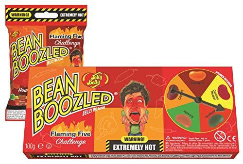 Jelly Belly Bean Boozled Set Glücksrad Flaming Five scharfeEdition 100g + Nachfüllbeutel 54g
