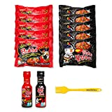 Munchie Box - Samyang Spicy Noodles Variety Pack | Top Two Flavors (Original and 2X Spicy) and Buldak Sauces | Korean Fire Noodles | Halal Samyang Premium Ramen - Bundled with Basting Brush