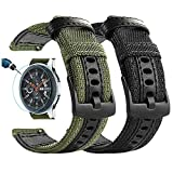 Maxjoy for Galaxy Watch 46mm Bands, Galaxy Watch 3 45mm Band, Gear S3 Frontier Bands, Men Nylon 22mm Quick Release Replacement Strap Compatible with Samsung Galaxy Watch 46mm/ 3 45mm/ Gear S3, 2 Pack
