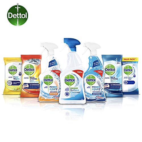 Dettol Cleaning Bundle - 3 Cleaning Sprays and 4 Packs of Antibacterial Wipes (Multi-Surface,...