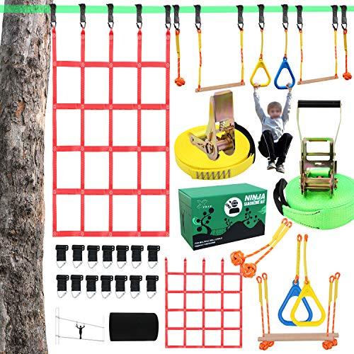 X XBEN Obstacle Course Kids 50' Slackline Kit, Ninja Training Equipment for Adult, Come with Jungle Gym Monkey Bars, 78.7' 47.2' Climbing Net, Gymnastic Bar