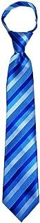 Children's Tie for ages 4-9 years old Capri, Cornflower and Horizon Blue Stripes Boys Zipper Tie