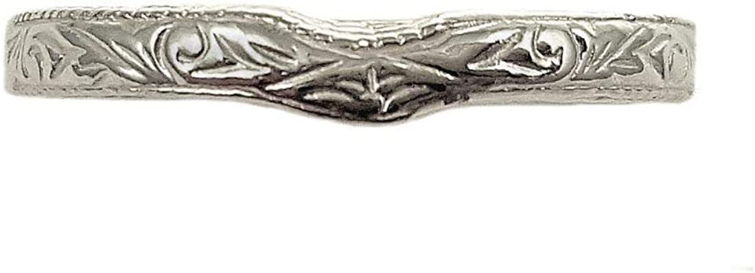 Antique Style 3mm Scroll online shopping Pattern Curved Wedding All stores are sold Band Sterling