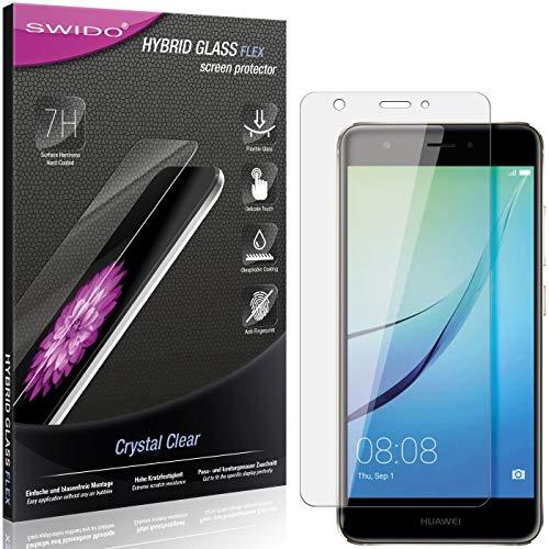SWIDO Panzerglas Schutzfolie kompatibel mit Huawei Nova Bildschirmschutz-Folie & Glas = biegsames HYBRIDGLAS, splitterfrei, Anti-Fingerprint KLAR - HD-Clear