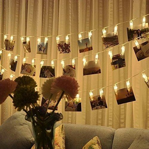 Catena Luminosa Luce per Foto Striscia LED Molletta Clip Luce Bianca Calda 3 Metri 20 Singoli Lucine Decorative per Salotto, Camera da Letto, Patio, Alberi, Negozio, Balcone o altri Occassioni