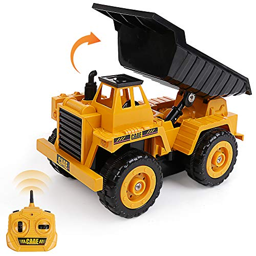 Jellydog Toy Remote Control Dump Truck, 5 CH 2.4G Alloy RC Truck, 360 Degree Turn Lift Up and Down Car,Construction Vehicles Toys for Boys Age 6+
