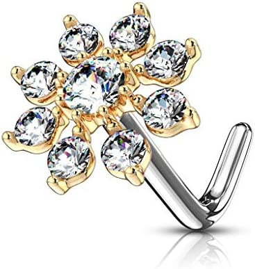 Forbidden Body Jewelry Nose Rings Big Bling CZ Snowflake L Shaped Nose Stud Surgical Steel 20g product image