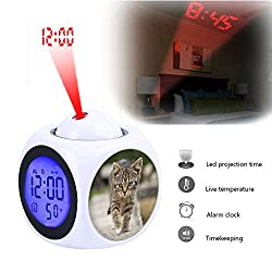 Projection Alarm Clock Wake Up Bedroom with Data and Temperature Display Talking Function, LED Wall/Ceiling Projection,Customize the pattern-077.Cat, Tabby, Outdoors, Animals, Cute, Kitten, Pets