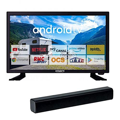 ANTARION Pack TV1961 TV 19' 48cm Bluetooth 12V Camping Car + Barre de Son 30W Ultra Compacte
