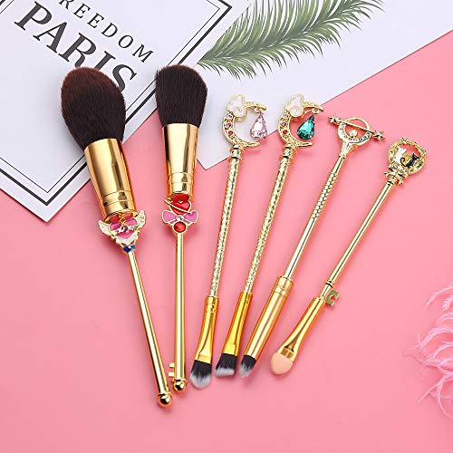LILONGXI Pinceau De Maquillage,Sailor Moon Set 6Pcs Or Kit Outils Soft Eye Liner Shader Foundation Powder Natural-Synthetic Brosse Cosmétiques Cheveux Rose