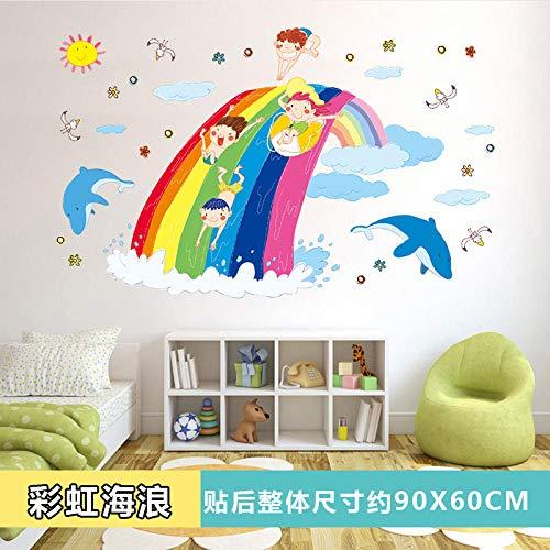 Dibujos animados habitación infantil pegatina de pared fondo pared dormitorio decoración de la pared jardín de infantes autoadhesivo pintura-arco iris ola