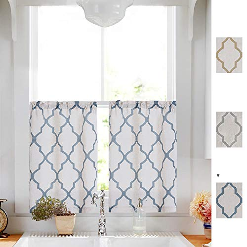 Linen Tier Curtains for Kitchen Flax Geometric Curtain Textured Drapes Lattice Moroccan Tile Print Drapery Light Filtering for Dining Room Small Window Rod Pocket Set 26' x 24' inch Taupe Panels