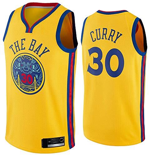 LYY Jersey Men's, NBA Golden State Warriors # 30 Stephen Curry - Classic Baloncesto Sportswear Flojo Comfort Chalecos Tops, Camisetas Sin Mangas Uniformes,Amarillo,M(170~175CM)