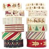 VIDILLO Washi Tape Set 12 Rolls Weihnachten Gold Washi Masking Tape Dekorative Klebeband für...