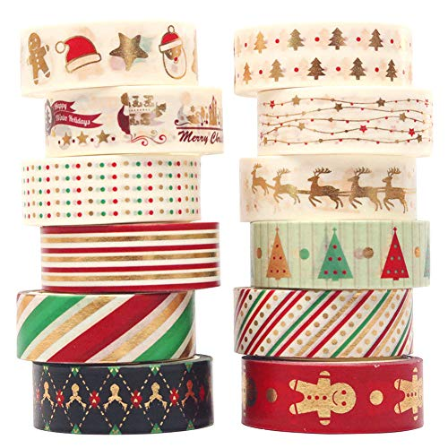 Christmas Washi Tape Set 12 Rolls Gold Masking Tape Pack Colorful Decorative Thin Tapes Christmas Holiday Designs Arts Craft Tape DIY Scrapbooking Planners Gift Wrapping Tapes Wedding(1.5cm X 5m) (12)