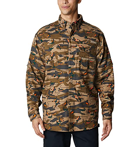 Columbia Sharptail - Camisa de Franela con Botones para Hombre, Hombre, Camisa Abotonada, 1736641, Flax Duck Range Camo, S