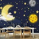 3D Papel Tapiz Papel Pintado De Foto Pintado A Mano Dibujos Animados Luna Estrellas Habitación De Niños Niño Niña Dormitorio Decoración De Pared Imagen Pintura Calcomanías De Pared-300cmx210cm(LxA)